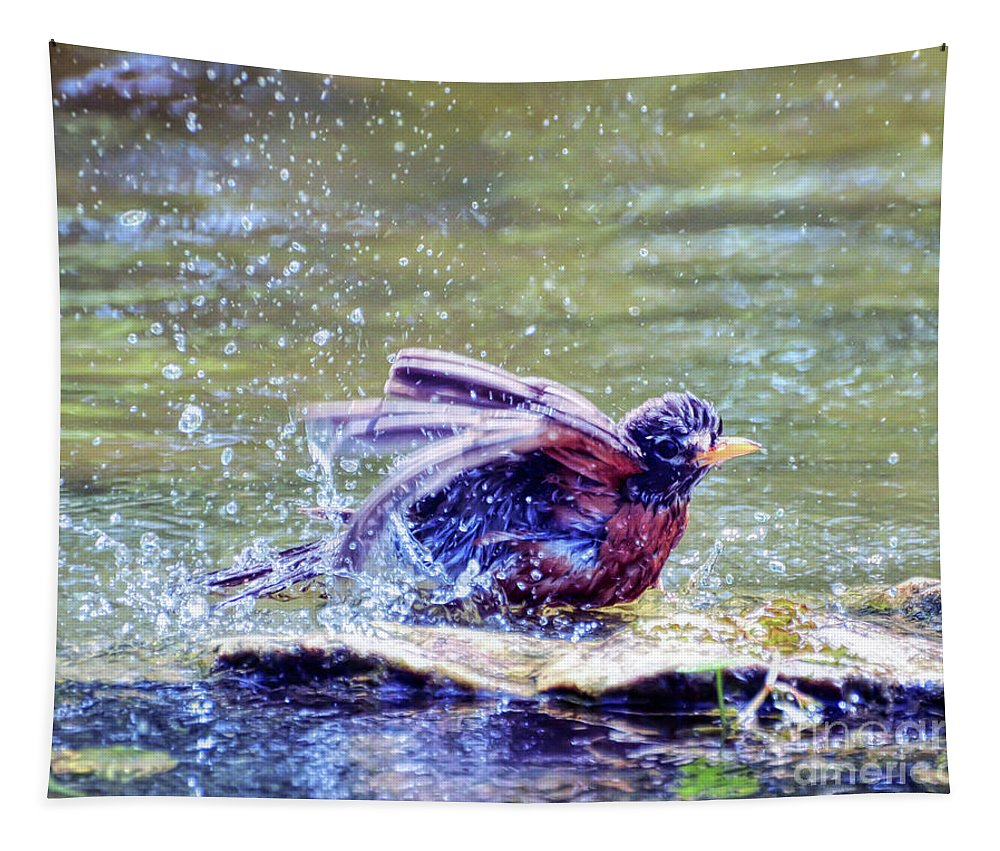 Robin Tapestry featuring the photograph Bathing Beauty by Kerri Farley
