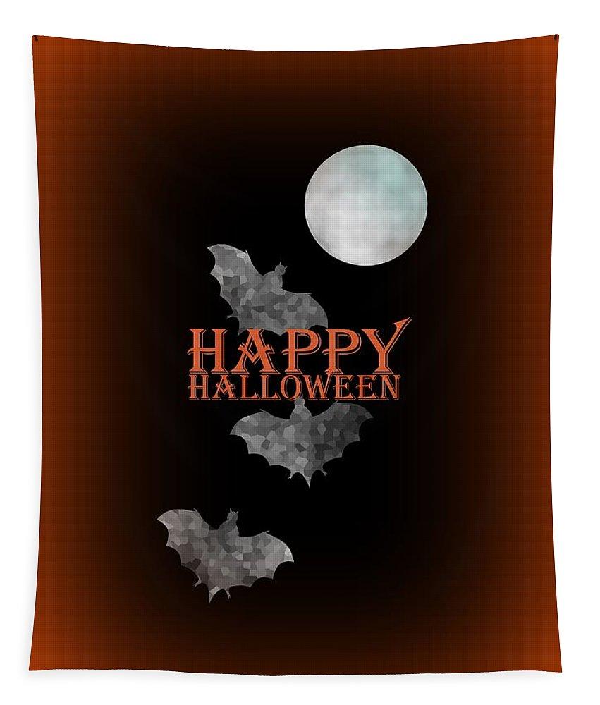 Bats Tapestry featuring the digital art Bats And The Moonlight - Happy Halloween by Kathleen Sartoris