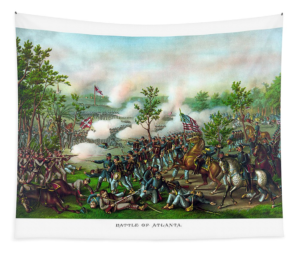 Battle Of Atlanta Tapestry featuring the painting Battle Of Atlanta by War Is Hell Store