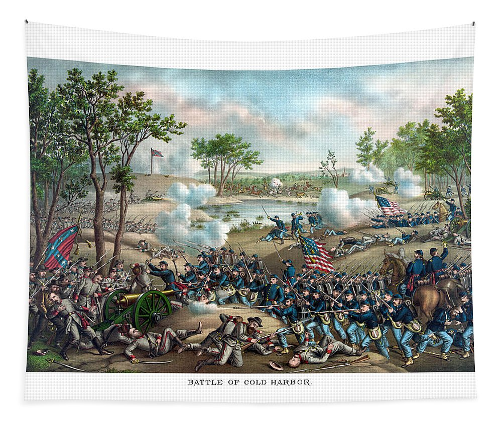 Civil War Tapestry featuring the painting Battle Of Cold Harbor by War Is Hell Store