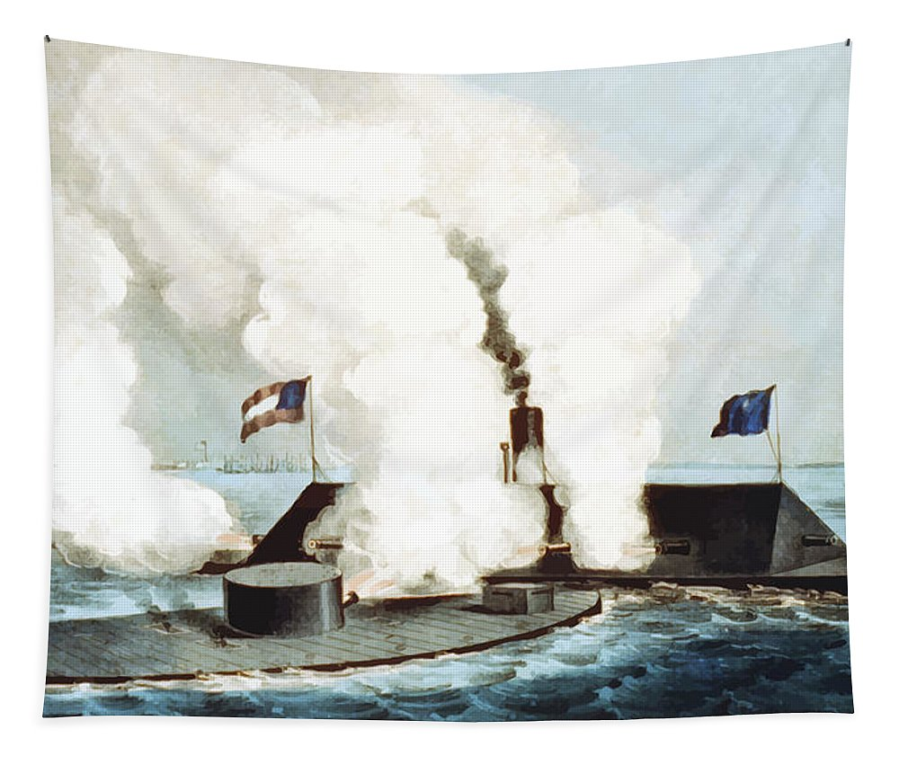 Monitor Tapestry featuring the painting Battle Of The Monitor And Merrimack by War Is Hell Store
