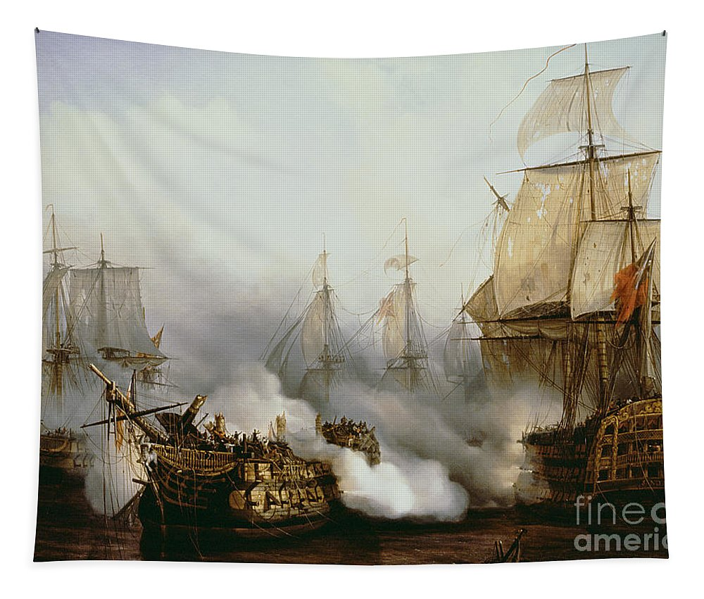 Battle Of Trafalgar (1805) (oil On Canvas) By Louis Philippe Crepin (1772-1851) Tapestry featuring the painting Battle of Trafalgar by Louis Philippe Crepin