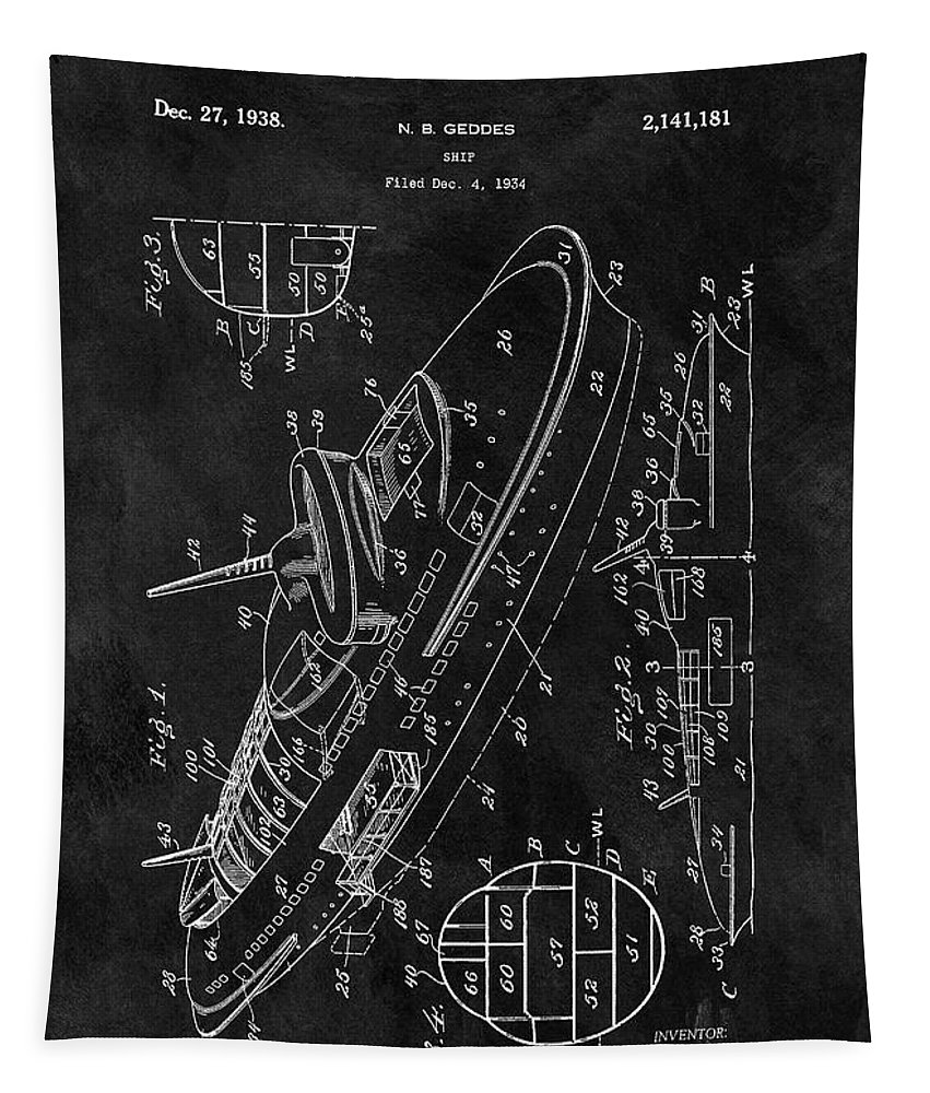 1938 Battleship Patent Tapestry featuring the drawing Battleship Patent by Dan Sproul