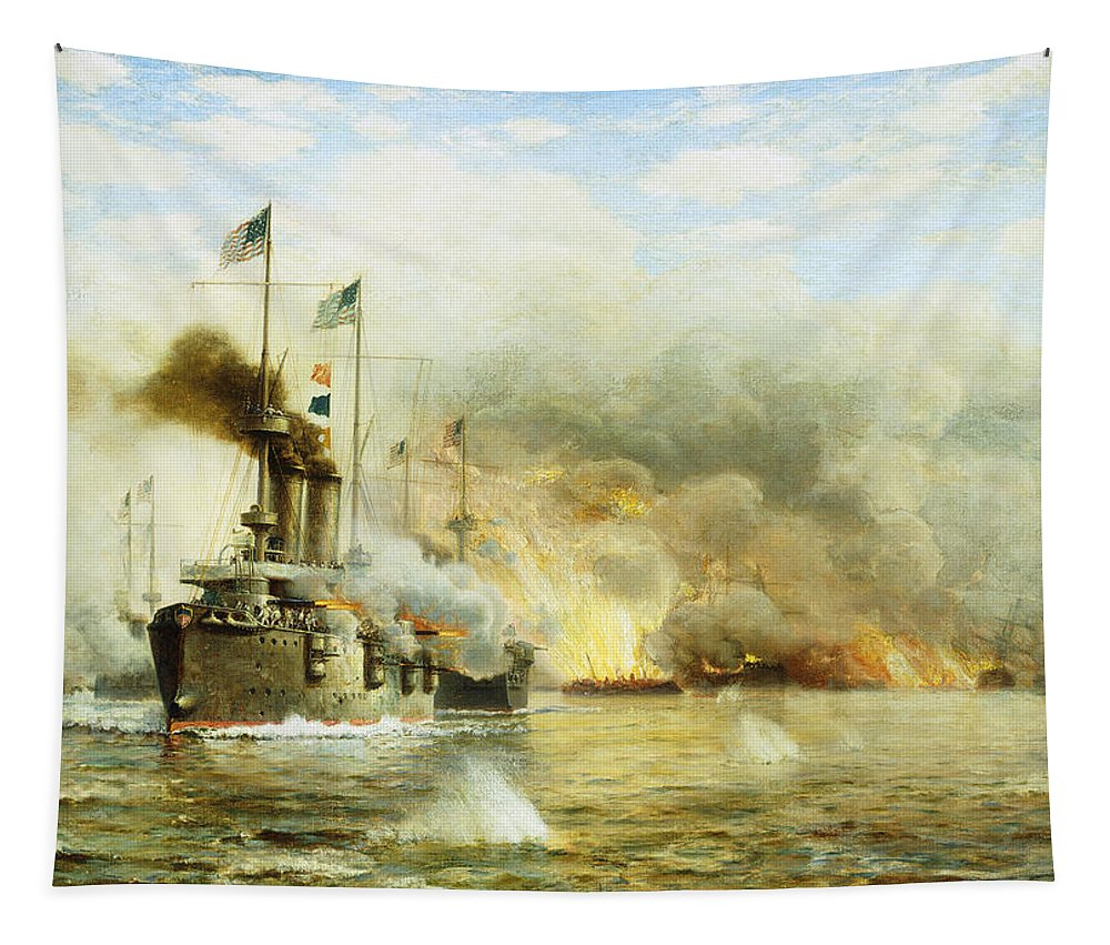 Sea Tapestry featuring the painting Battleships At War by James Gale Tyler