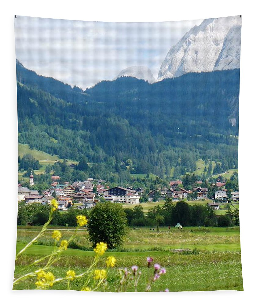 Bavaria Tapestry featuring the photograph Bavarian Alps With Village And Flowers by Carol Groenen