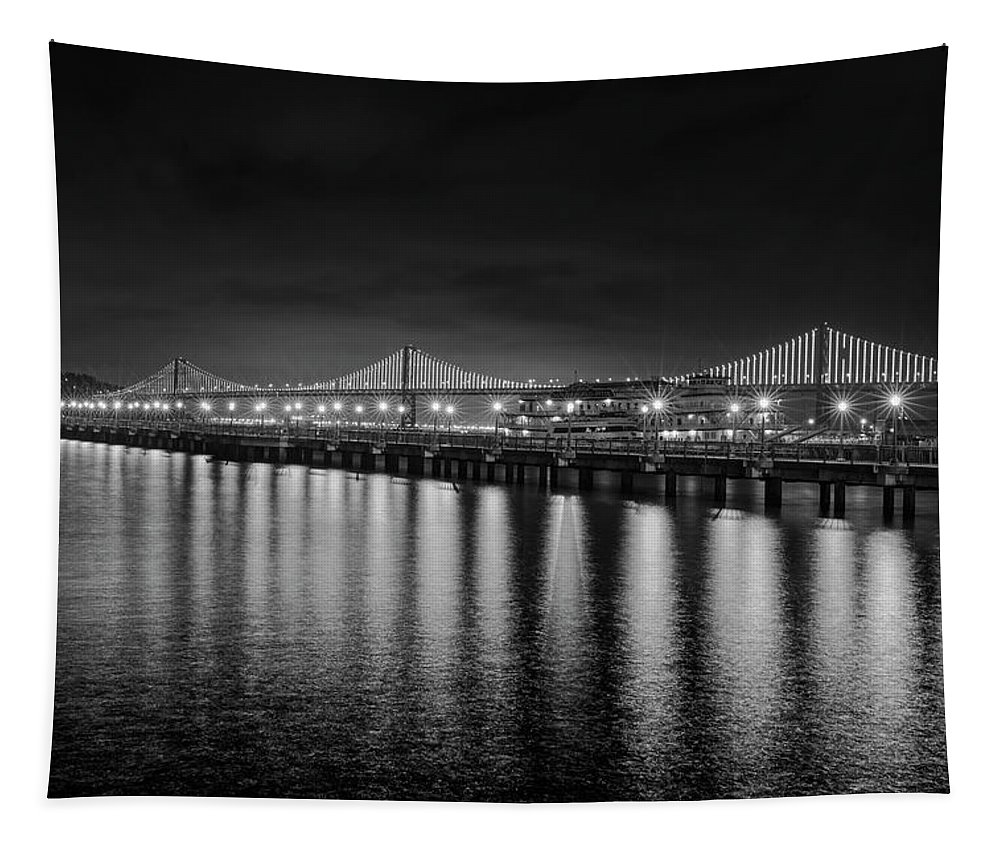 Bay Tapestry featuring the photograph Bay Bridge San Francisco California Black And White by Toby McGuire