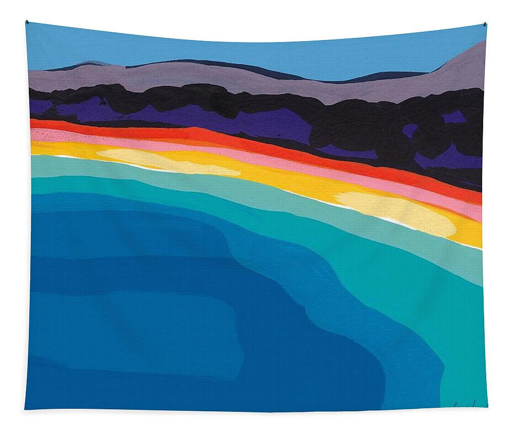 Bay Tapestry featuring the painting Bay Of Angels by Sarah Gillard