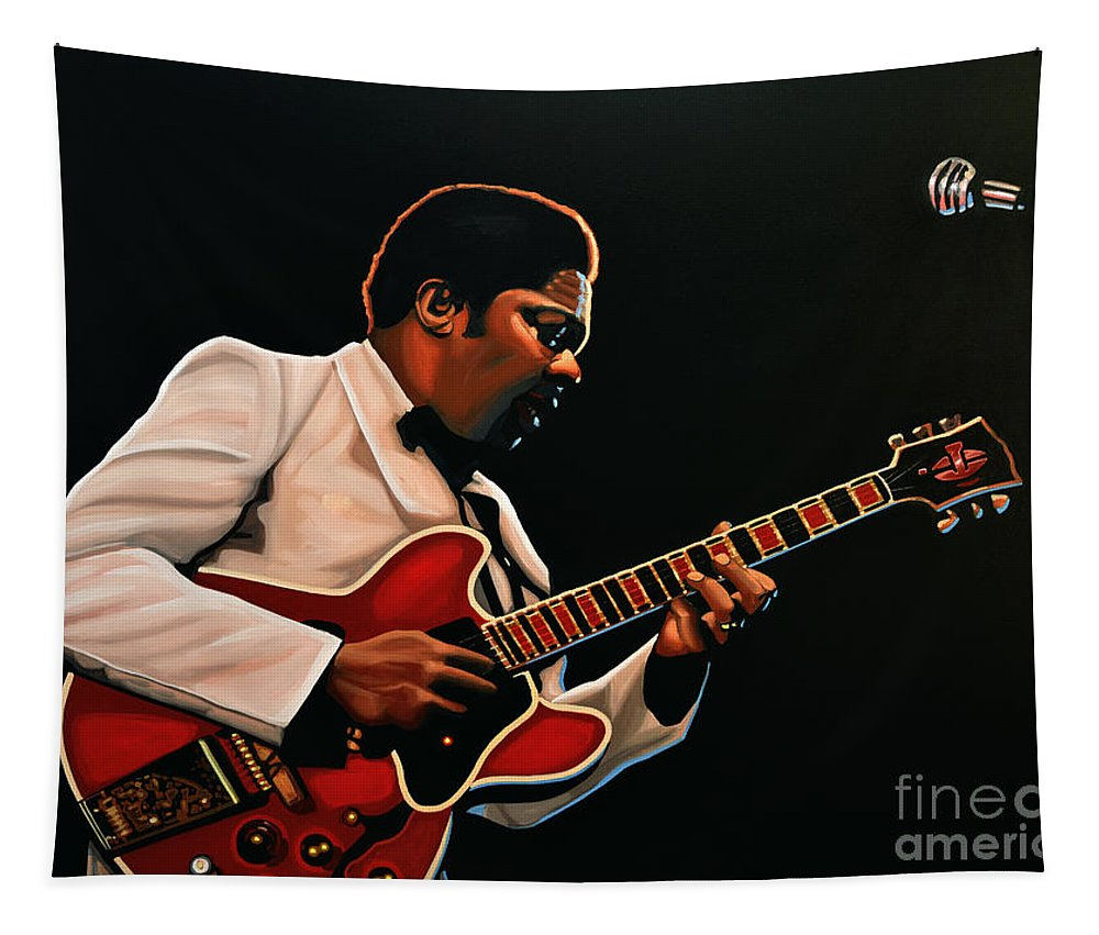 Bb King Tapestry featuring the painting B. B. King by Paul Meijering