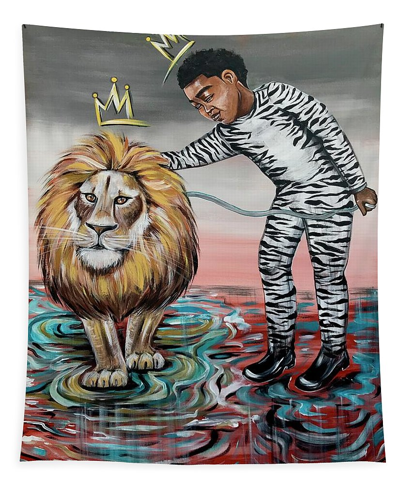 Son Tapestry featuring the painting Be Courageous My Son by Artist RiA