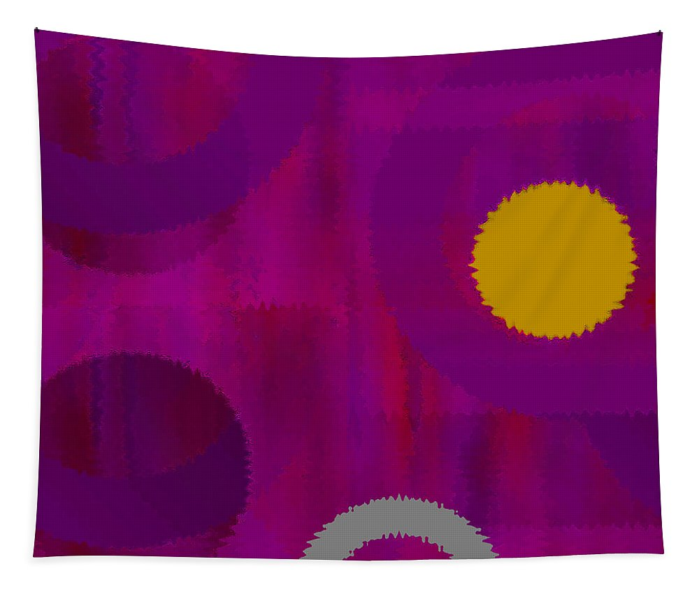 Abstract Tapestry featuring the digital art Be Happy II by Ruth Palmer