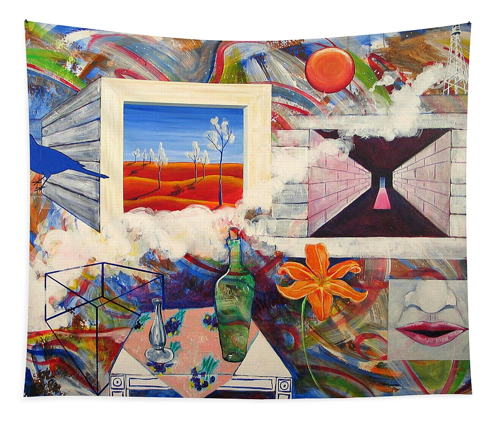 Landscape Tapestry featuring the painting Be Here Now by Rollin Kocsis