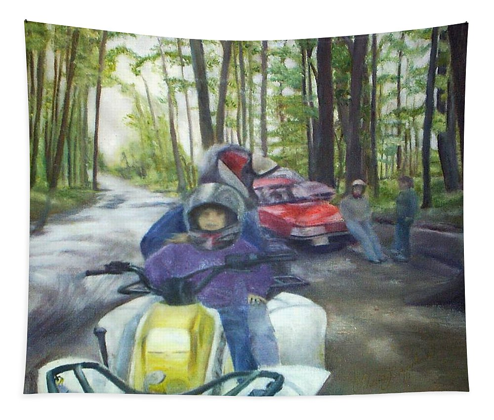 Quad Tapestry featuring the painting Be Right Back by Sheila Mashaw