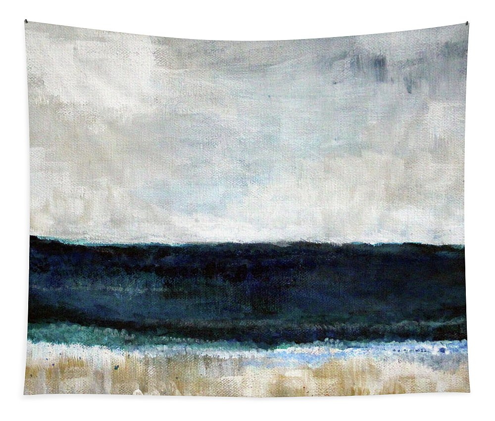 Beach Tapestry featuring the painting Beach- abstract painting by Linda Woods