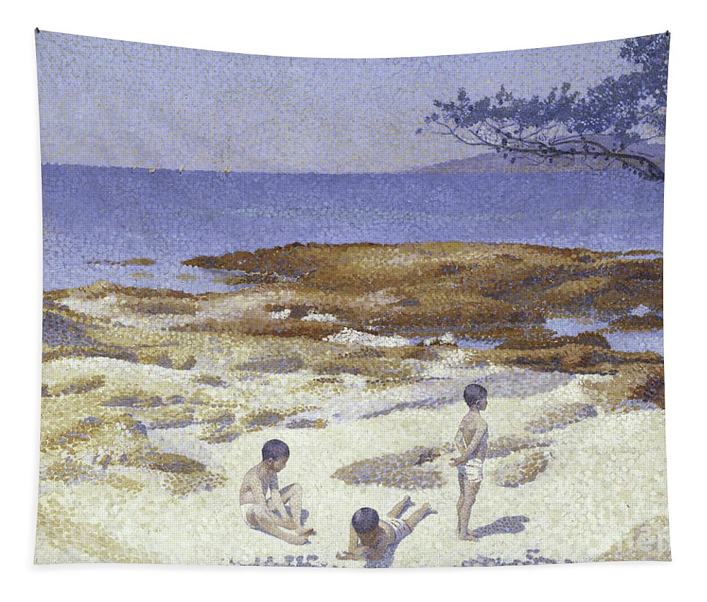Beach Tapestry featuring the painting Beach At Cabasson by Henri-Edmond Cross