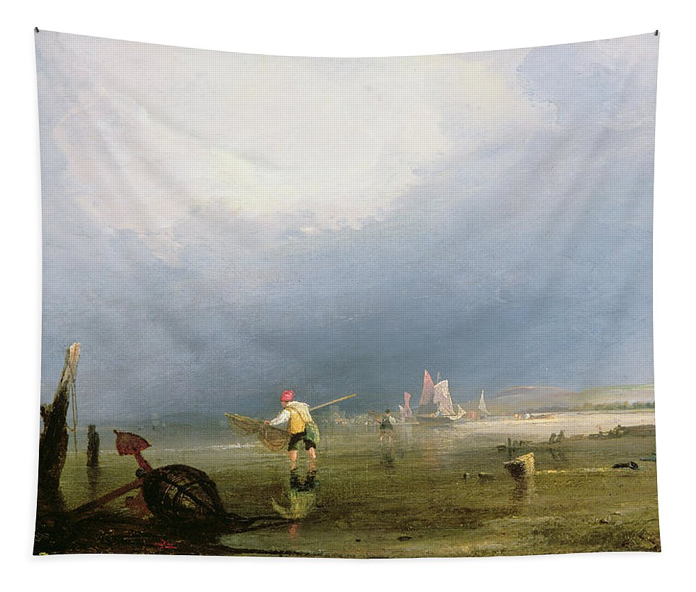 Beach Tapestry featuring the painting Beach At Shoreham by Anthony Vandyke Copley Fielding
