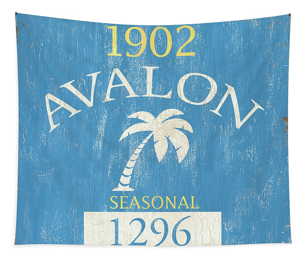 Beach Tapestry featuring the painting Beach Badge Avalon by Debbie DeWitt