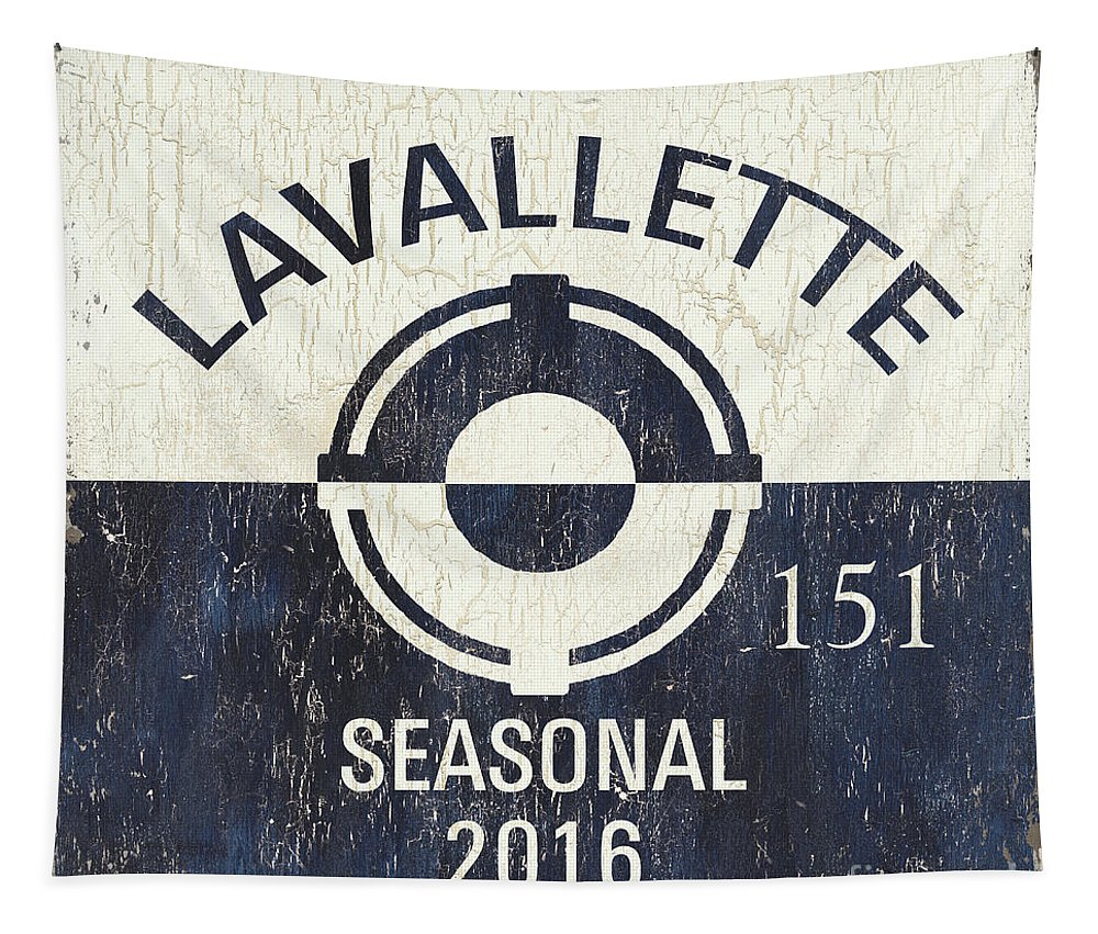 Lavallette Tapestry featuring the painting Beach Badge Lavalette by Debbie DeWitt