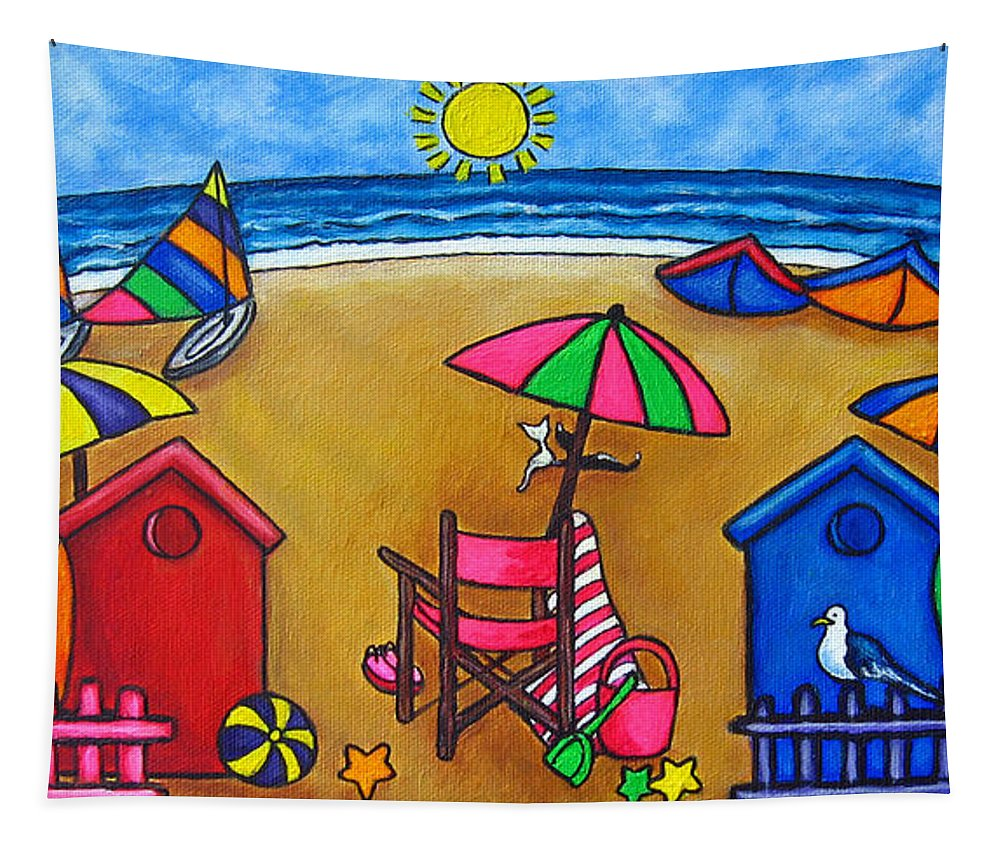 Beach Tapestry featuring the painting Beach Colours by Lisa Lorenz
