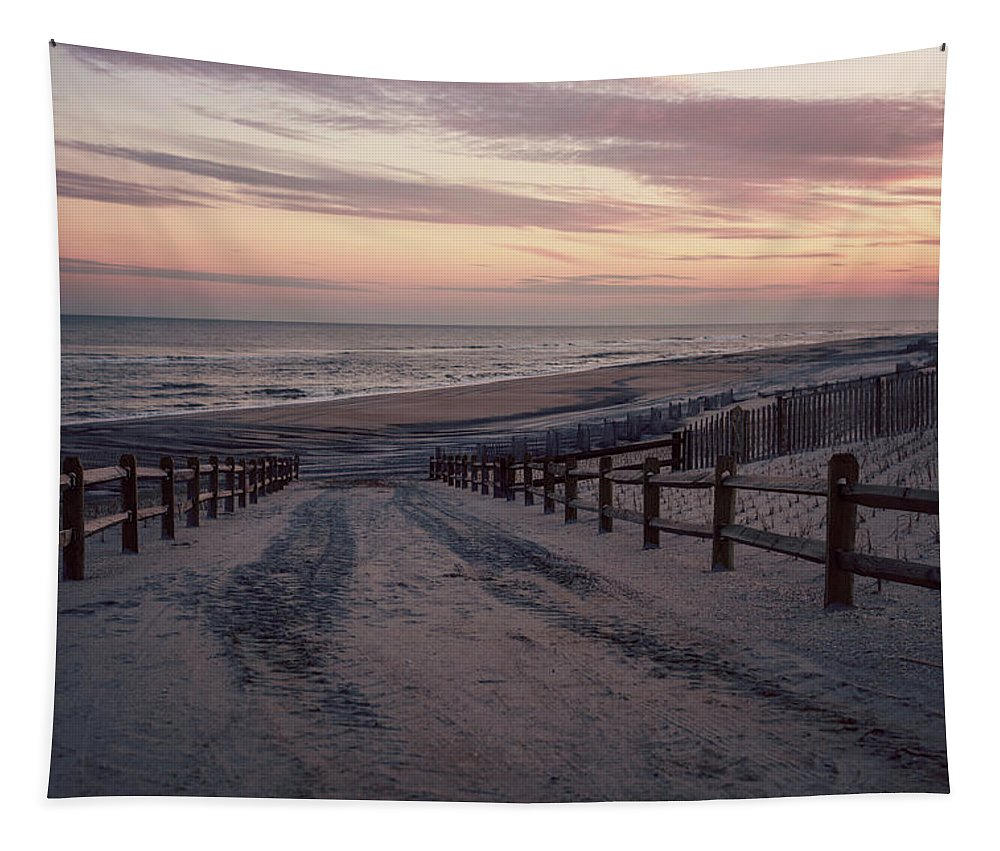 Beach Entrance Lbi New Jersey Vintage Tapestry featuring the photograph Beach Entrance Lbi New Jersey Vintage by Terry DeLuco