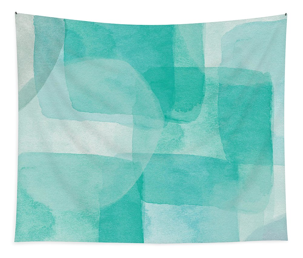 Abstract Tapestry featuring the painting Beach Glass- Abstract Art by Linda Woods by Linda Woods