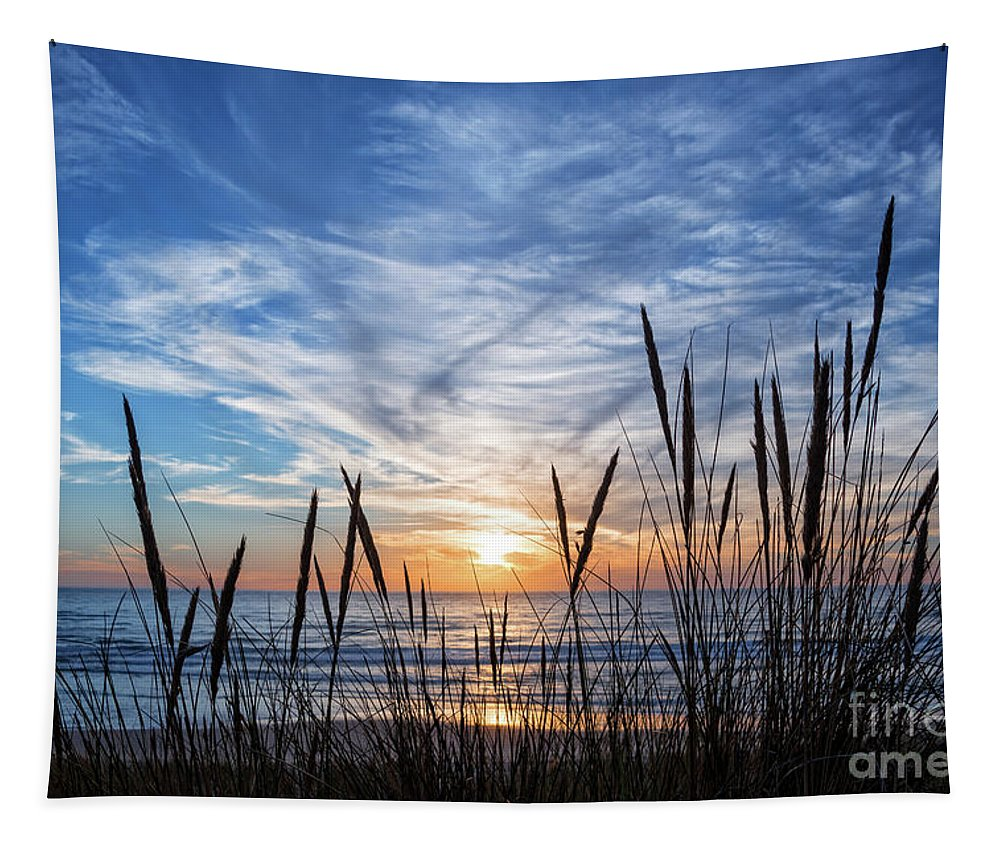 Sunset Tapestry featuring the photograph Beach Grass by Delphimages Photo Creations