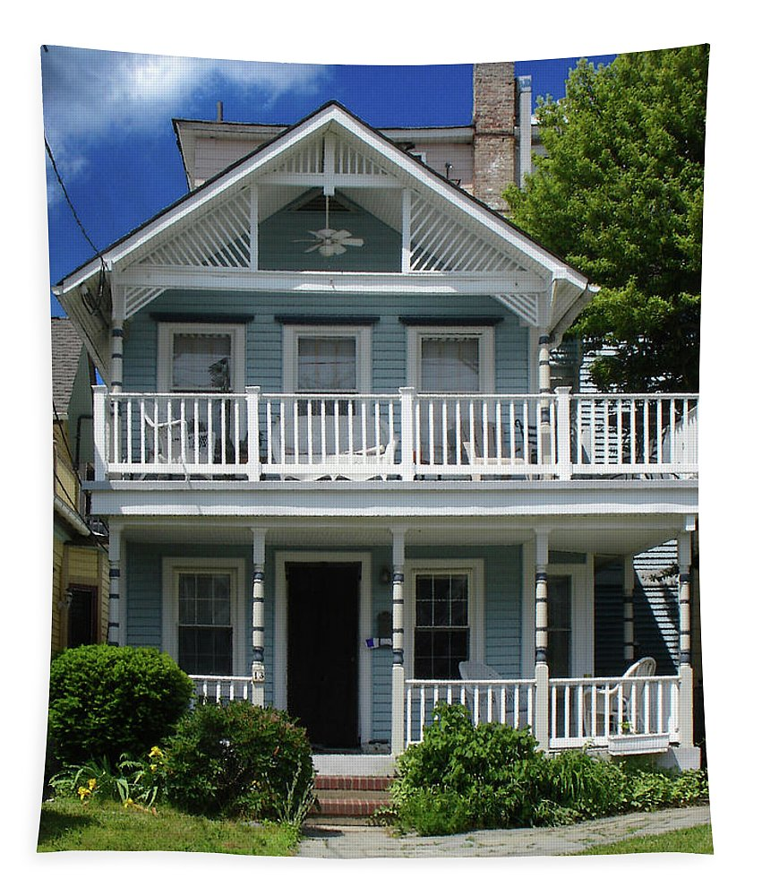 Victorian House Tapestry featuring the photograph Beach House Panel 3 From Triptych by Steve Karol