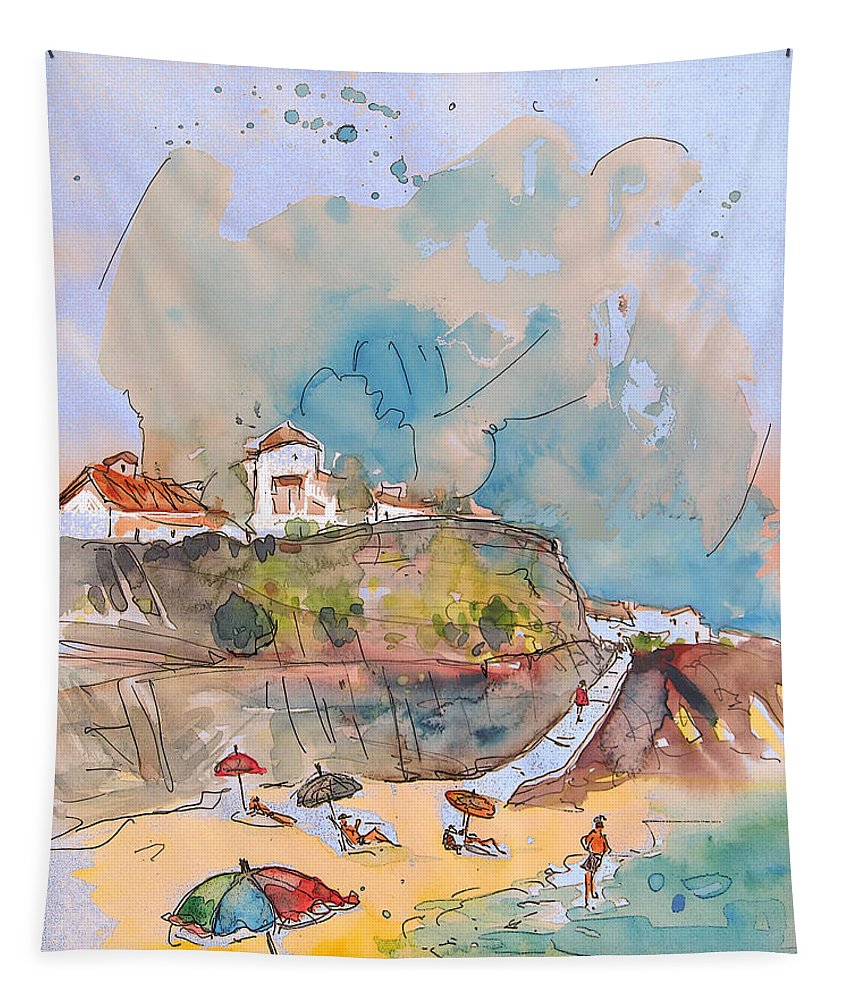 Portugal Art Tapestry featuring the painting Beach In Ericeira In Portugal by Miki De Goodaboom