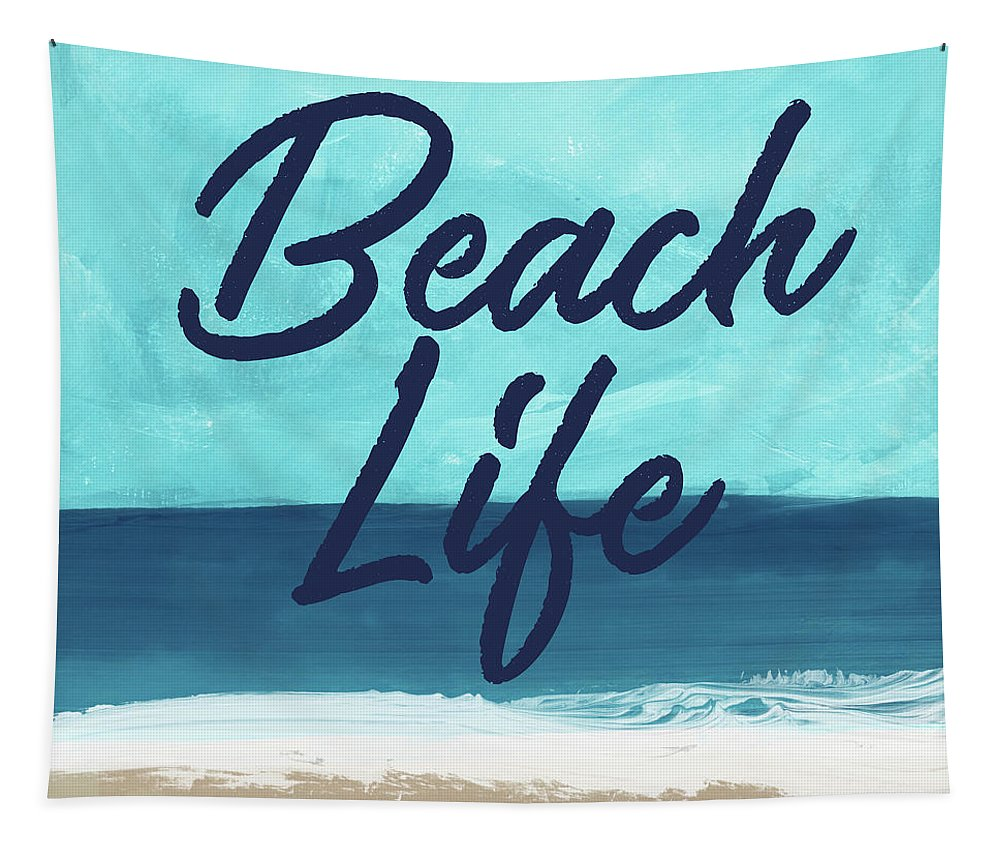 Beach Life Tapestry featuring the mixed media Beach Life- Art By Linda Woods by Linda Woods