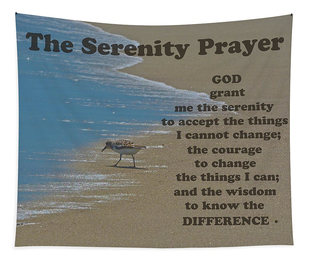 The Serenity Prayer Tapestry featuring the photograph Beach Serenity Prayer by Sandi OReilly