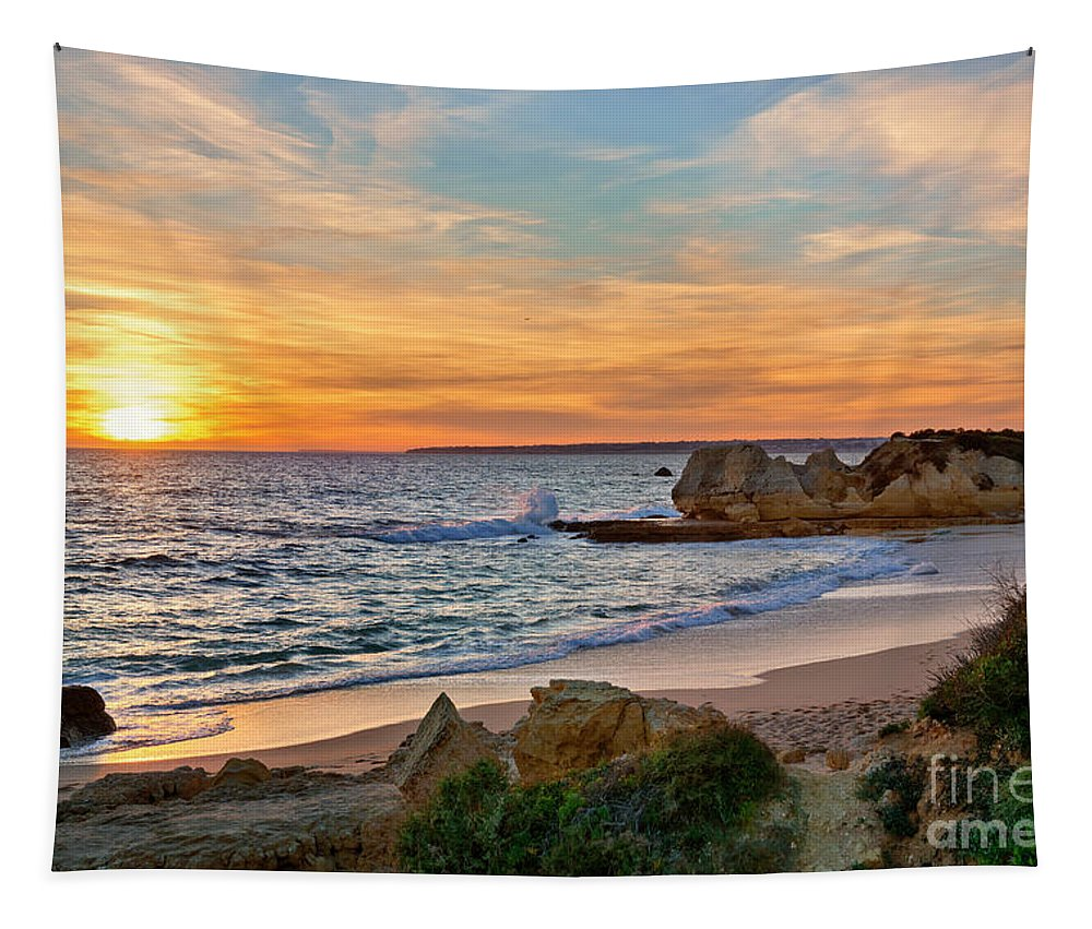 Beach Tapestry featuring the photograph beach sunset Portugal by Mikehoward Photography