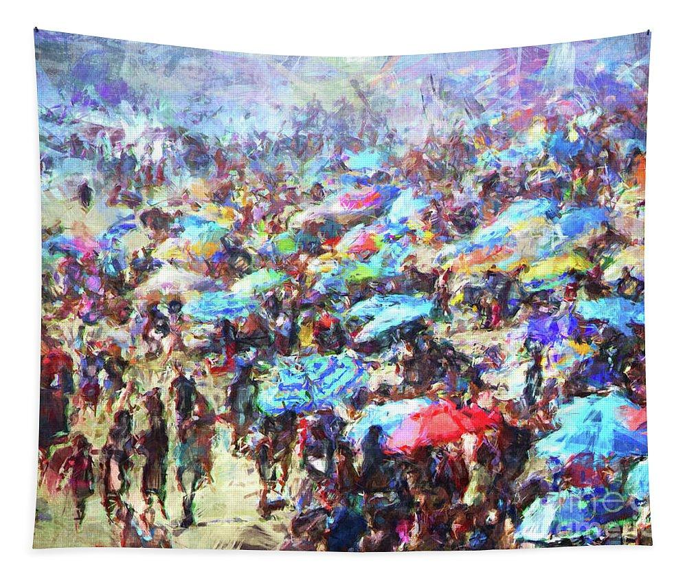 Digital Painting Tapestry featuring the digital art Beach Umbrellas by Phil Perkins
