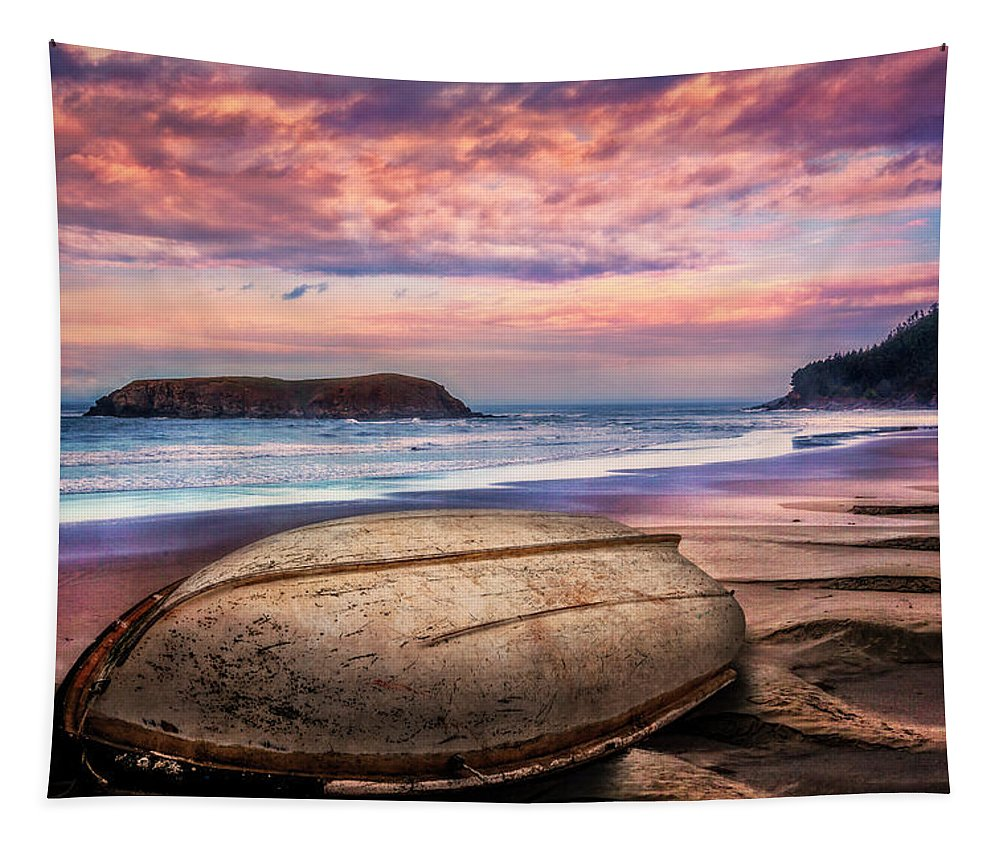 Boats Tapestry featuring the photograph Beached At Sunset by Debra and Dave Vanderlaan