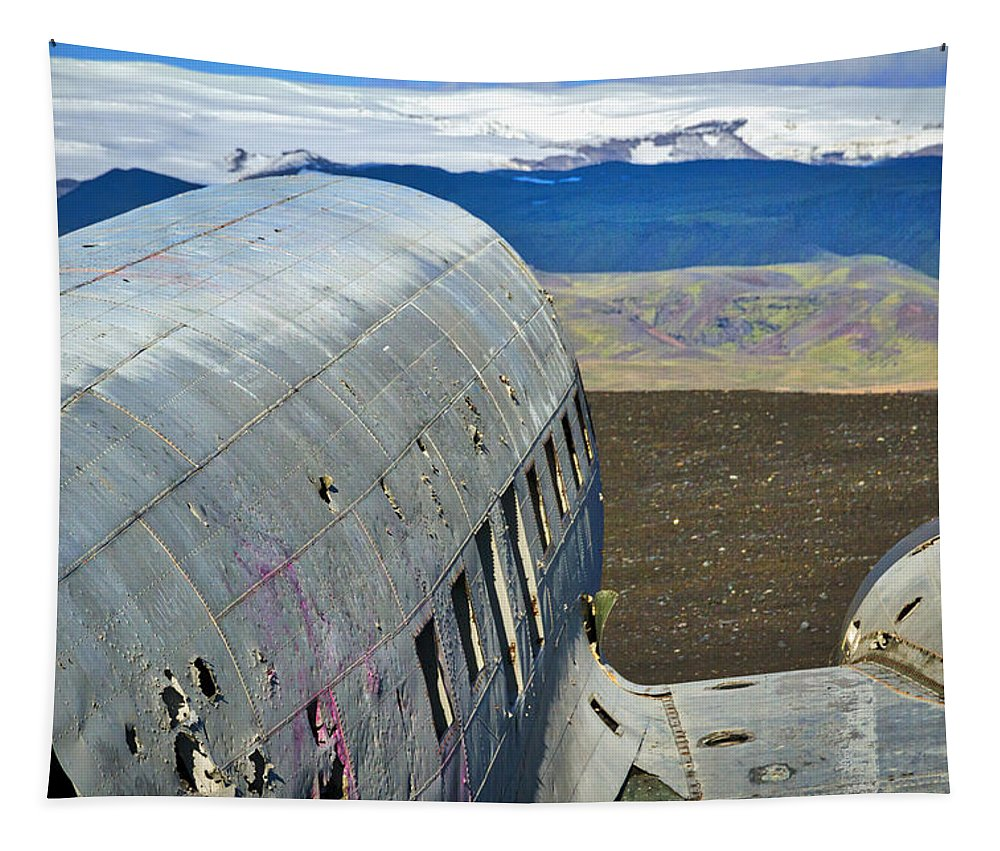 Iceland Tapestry featuring the photograph Beached Plane Wreckage - Iceland by Stuart Litoff