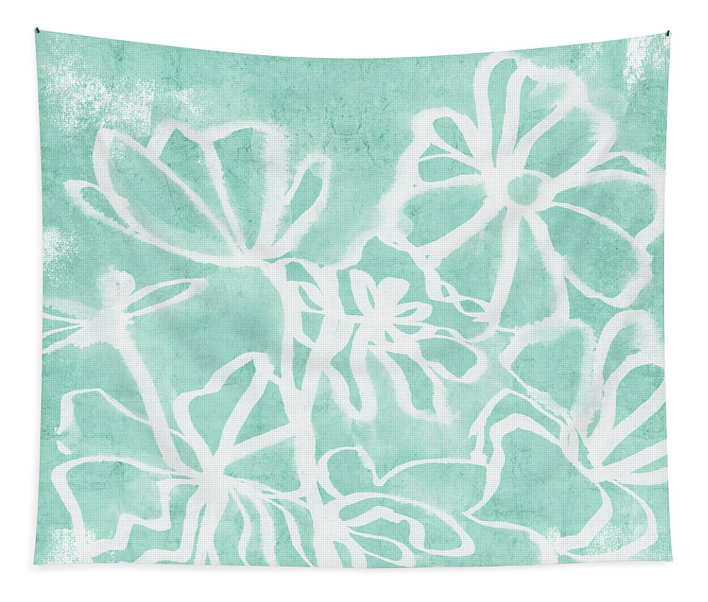 Aqua Tapestry featuring the mixed media Beachglass And White Flowers 2- Art By Linda Woods by Linda Woods