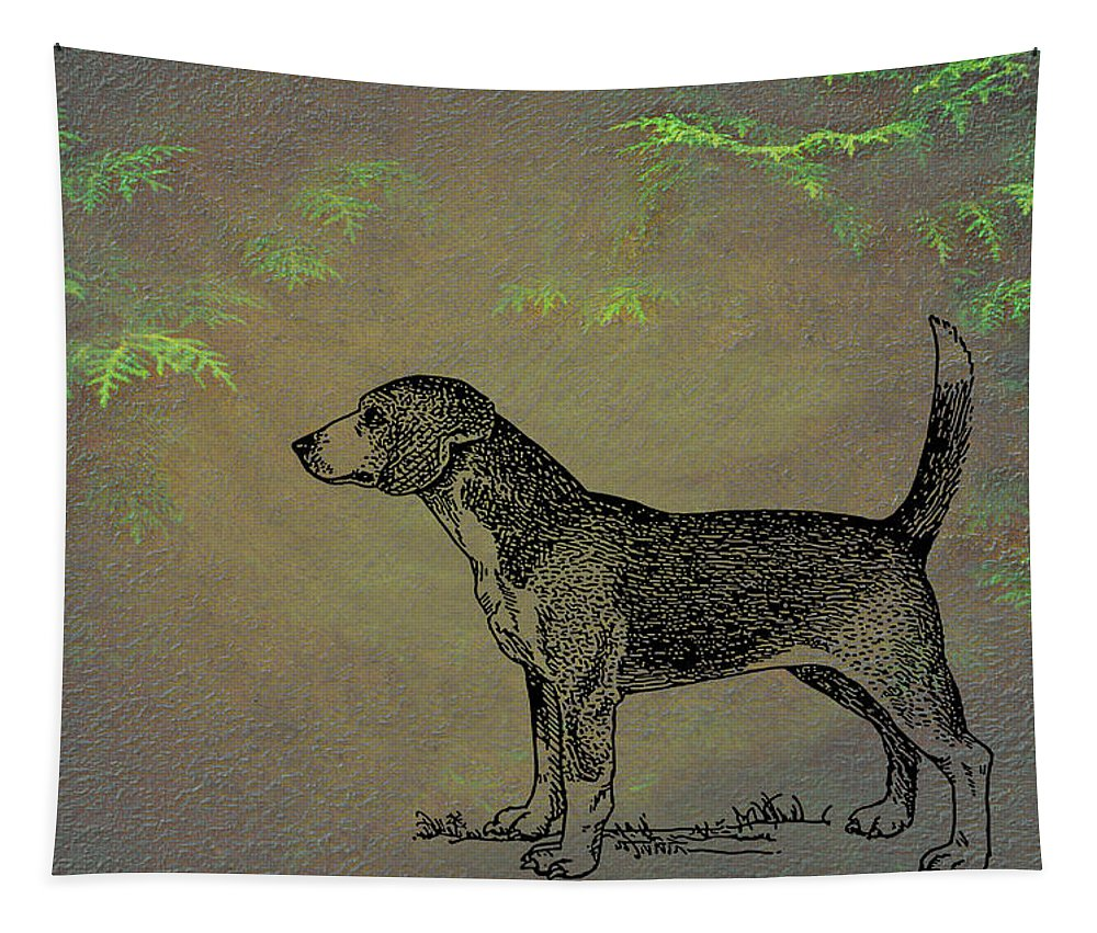 Beagle Tapestry featuring the mixed media Beagle by Movie Poster Prints