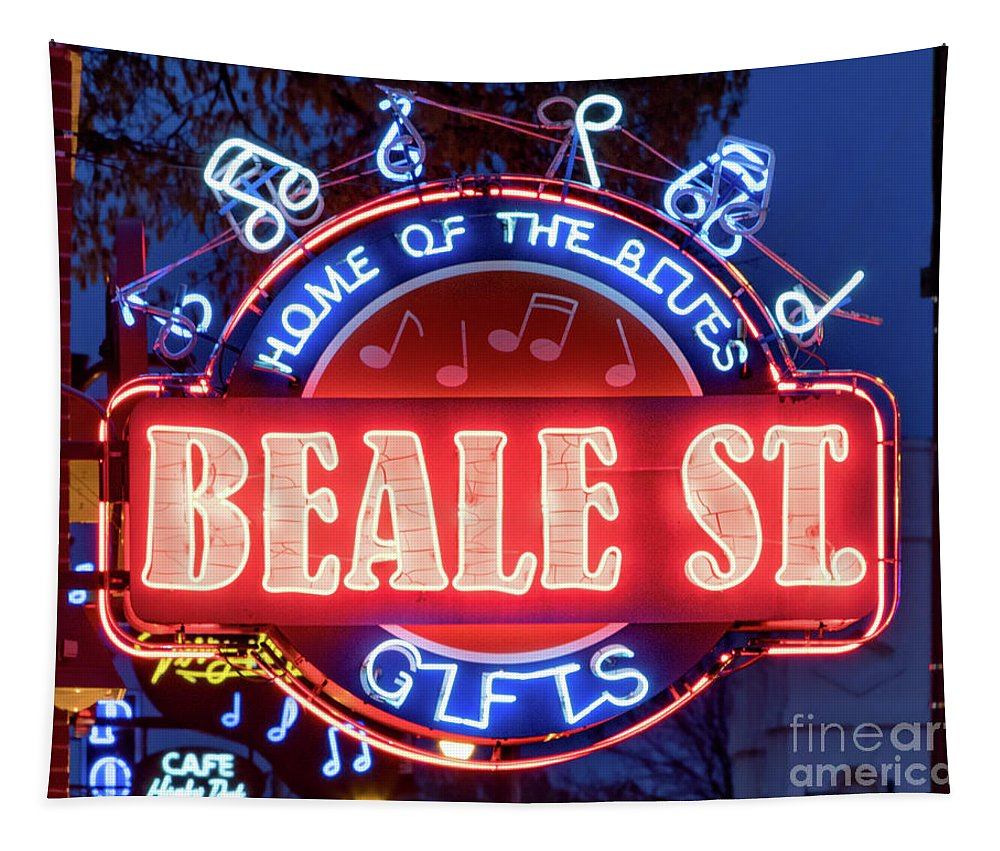 Beale Street Tapestry featuring the photograph Beale Street Home Of The Blues by Jerry Fornarotto