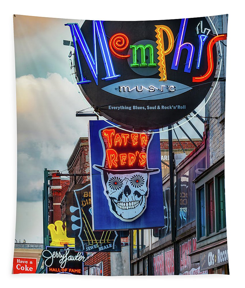 City Tapestry featuring the photograph Beale Street Neon by Jerry Fornarotto
