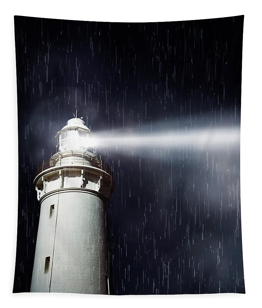 Nautical Tapestry featuring the photograph Beaming Lighthouse by Jorgo Photography - Wall Art Gallery