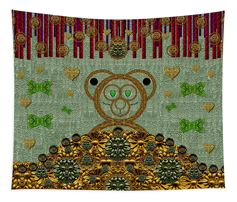 Bear Tapestry featuring the mixed media Bear In The Blueberry Wood by Pepita Selles