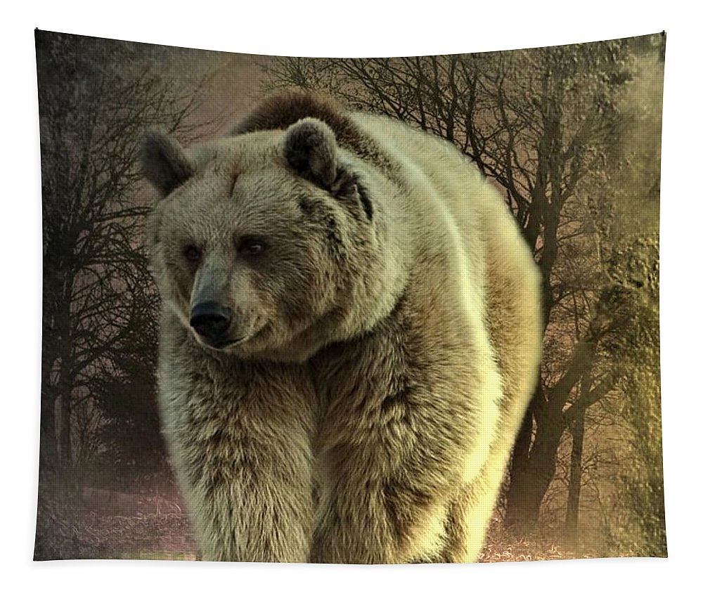Fantasy Tapestry featuring the digital art Bear In The Woods by Ali Oppy