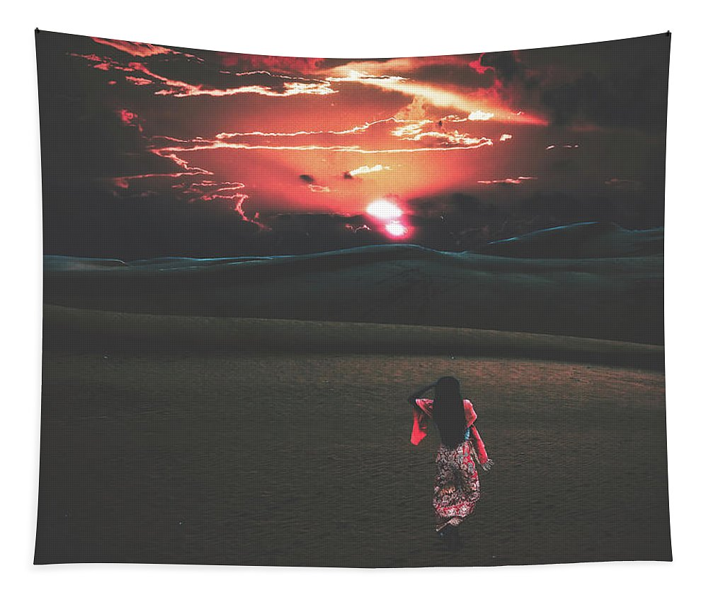 Sunset Tapestry featuring the photograph Beauties Of The Desert At Sunset by Pixabay