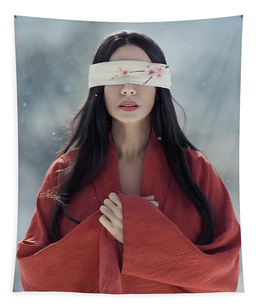 Sexy Tapestry featuring the photograph Beautiful Asian Woman With Red Sensual Lips Standing In The Snow by Awen Fine Art Prints