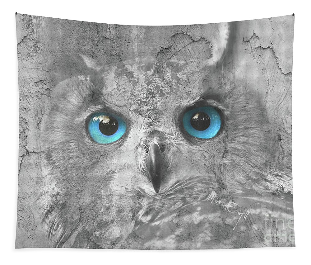 Blue Eyes Tapestry featuring the digital art Beautiful Blue-eyed Owl by Maria Astedt