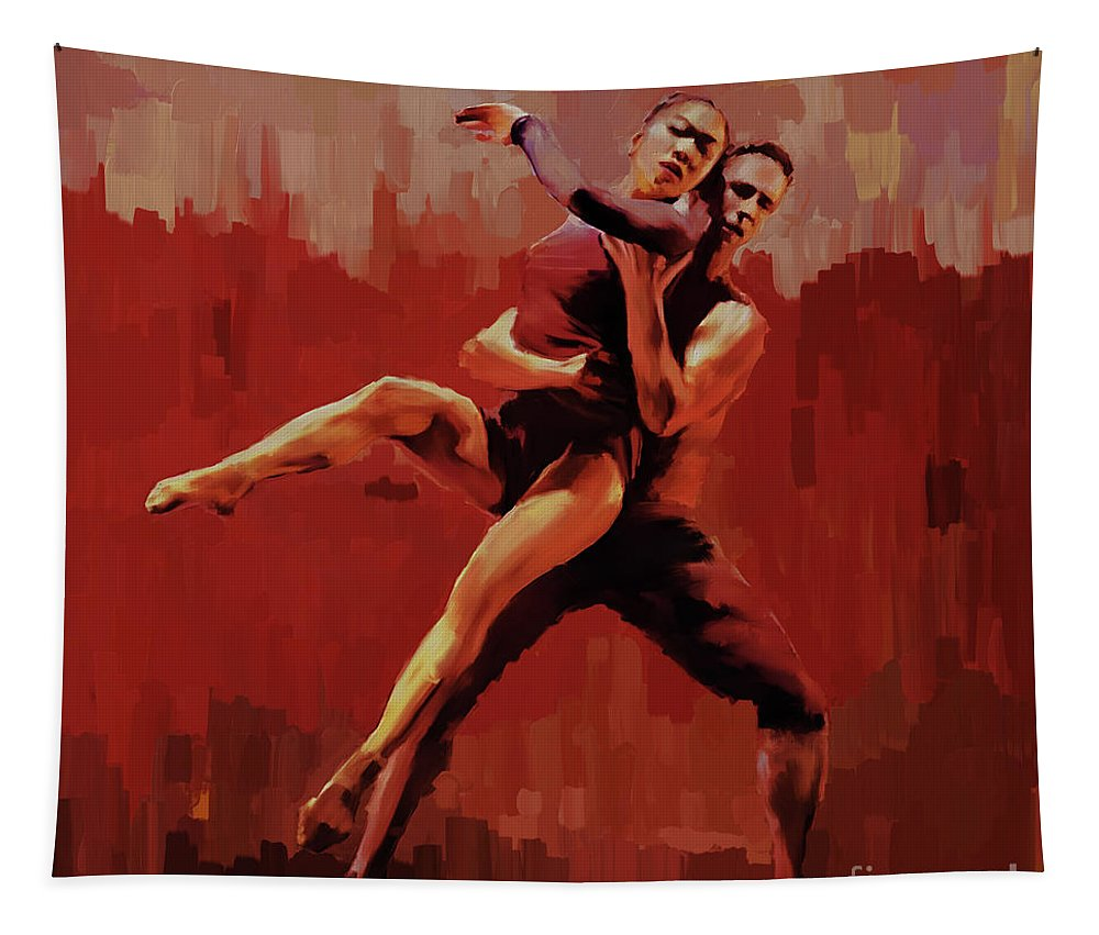 Tapestry featuring the painting Beautiful Couple Dance 02 by Gull G