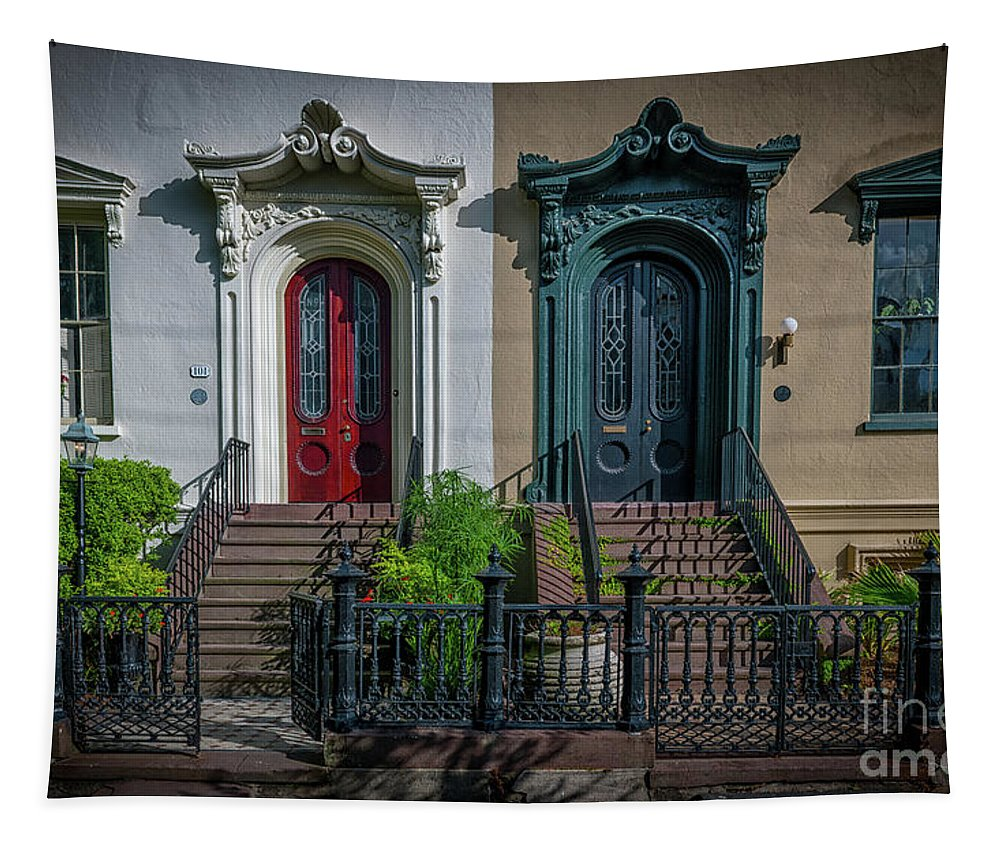 Door Tapestry featuring the photograph Beautiful Doors On Bull Street by Dale Powell
