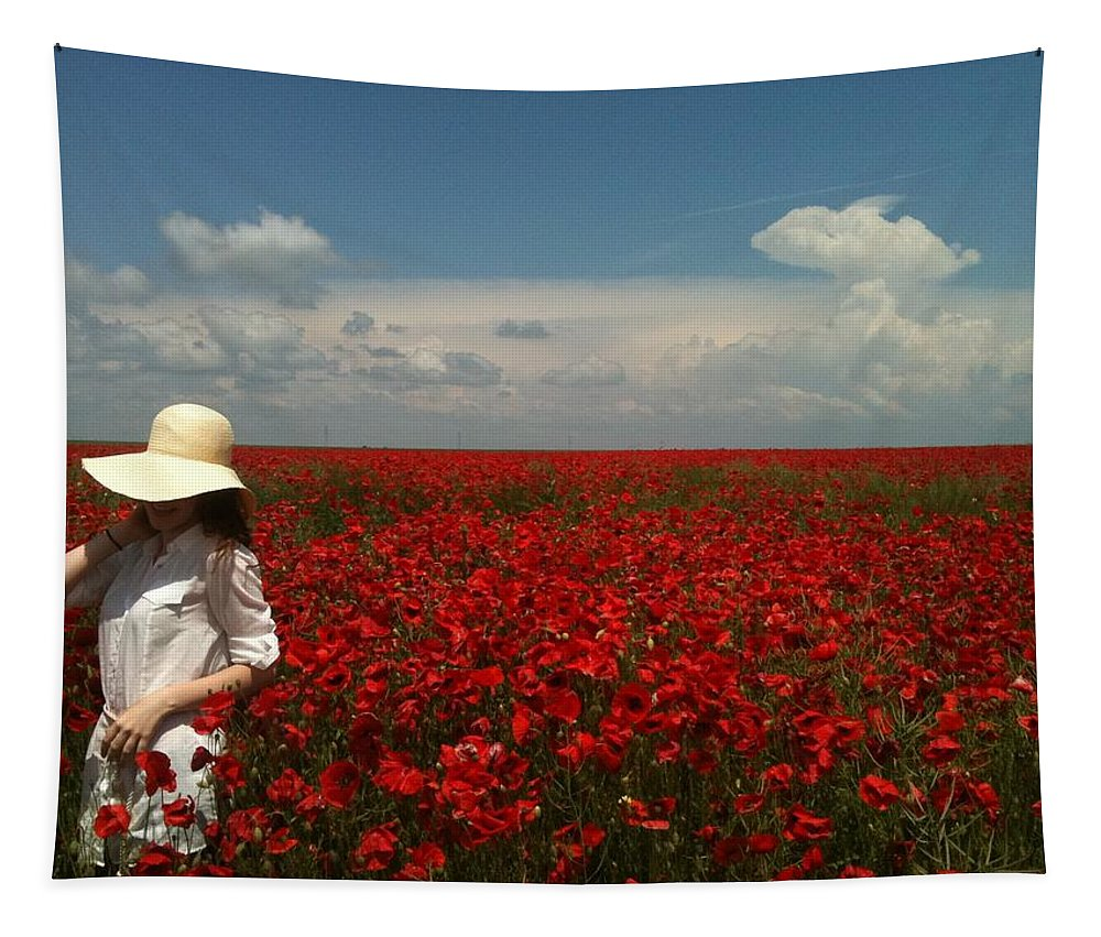 Red Poppies In A Field Of Red Poppies Tapestry featuring the painting Beautiful Lady And Red Poppies by Georgeta Blanaru