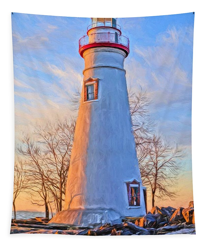 Beautiful Marblehead Lighthouse Tapestry featuring the painting Beautiful Marblehead Lighthouse by Dan Sproul