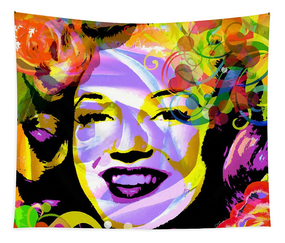 Marilyn Monroe Tapestry featuring the mixed media Beautiful Marilyn Monroe by Stacey Chiew