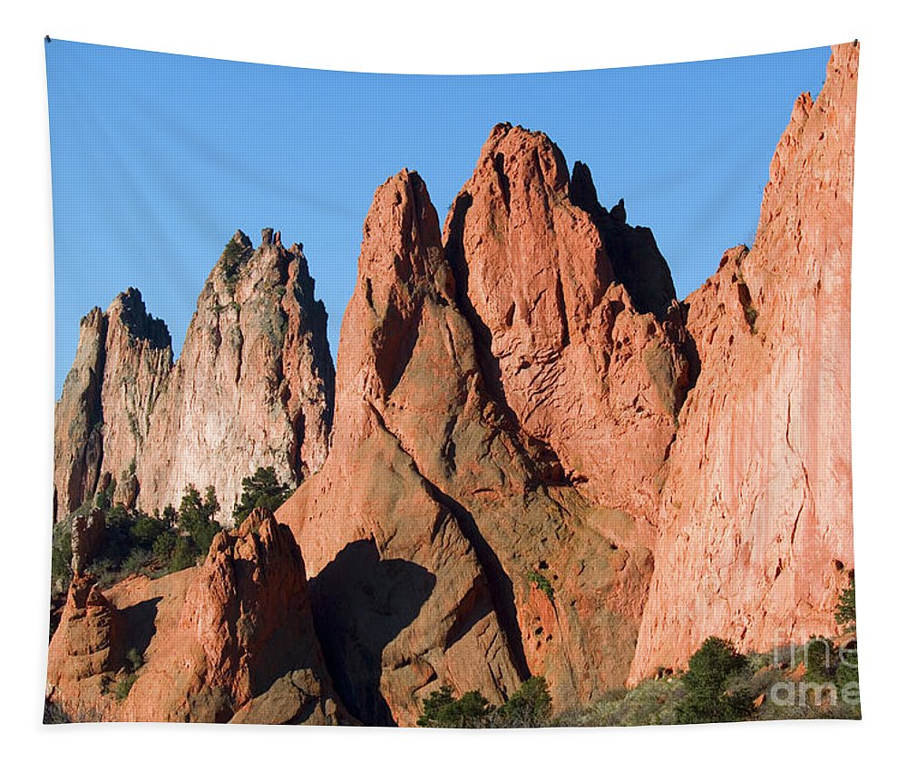 Garden Of The Gods Tapestry featuring the photograph Beautiful Sandstone Spires In Garden Of The Gods Park by Steve Krull