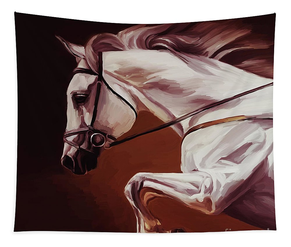 Horse Tapestry featuring the painting Beautiful White Running Horse 9iu by Gull G